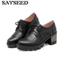 נשים משאבות 2018 אביב סתיו נעלי עקבים גבוהים רטרו שחור נשים קשת הבוהן סביב נעליים מזדמנים נעלי עור עקבים כיכר אופנה