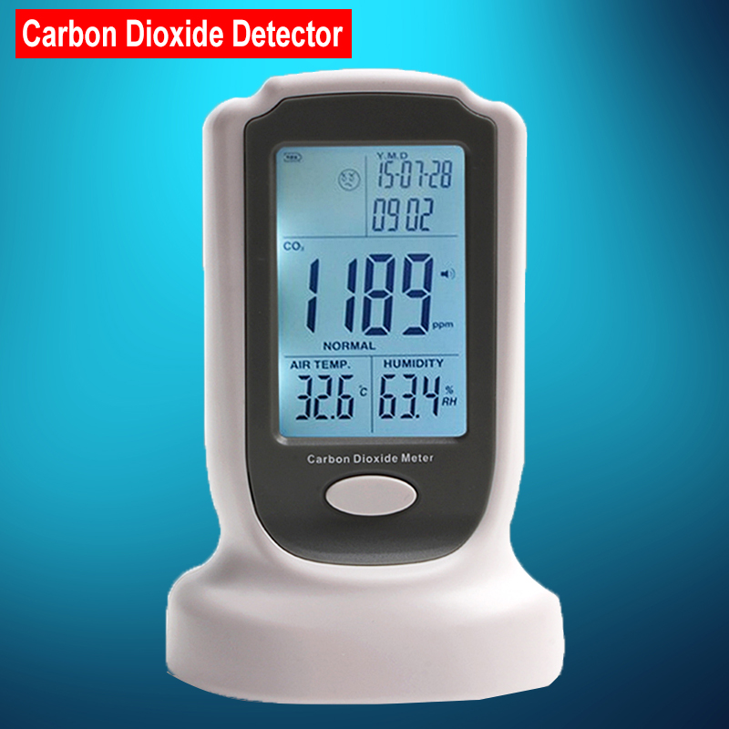 Mini Desktop Carbon Dioxide Datalogger Indoor Air Quality Temperature RH CO2 Gas Detector Meter Date time and sound-light alarm
