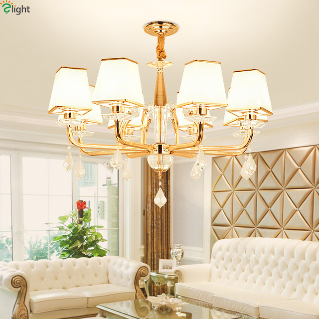 Modern Lustre Crystal Led Chandelier Lighting Gold Metal Dining Room ...
