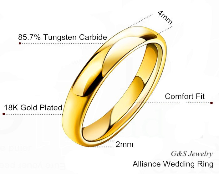 Women S Jewelry 18k Yellow Gold Plated 4mm Comfort Fit Plain Wedding Band Tungsten Carbide Alliance Rings G S045wr In From Accessories On