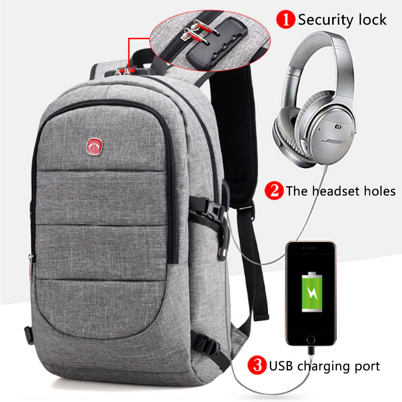 J&q New Usb Backpack Lock Sac Recharge Travel Backpack Male Laptop Backpack Anti-theft Fabric Coded Lock School Backpack