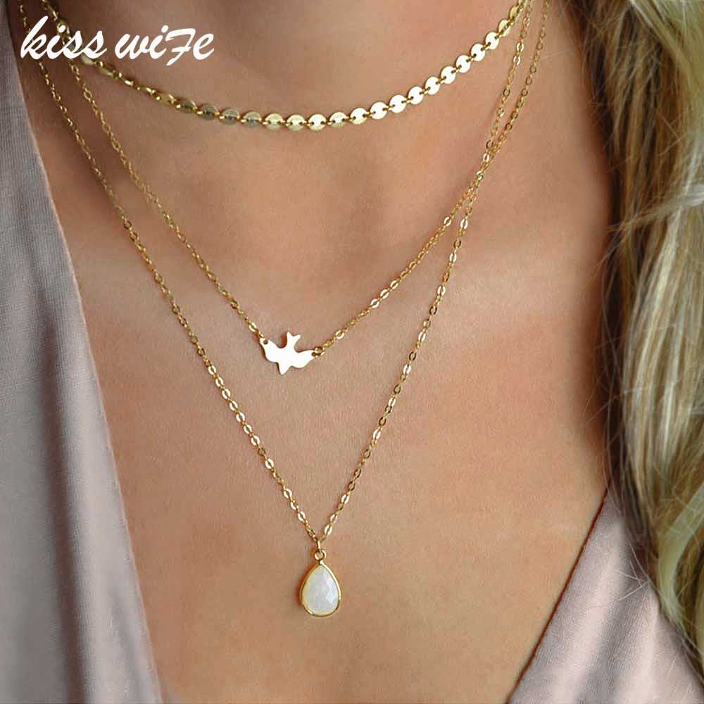 KISSWIFE 2018 New Peace Dove Soar Flying Layers Crystal Sequins Chain pigeon bird Water Drop Pendant Multilayer Necklace