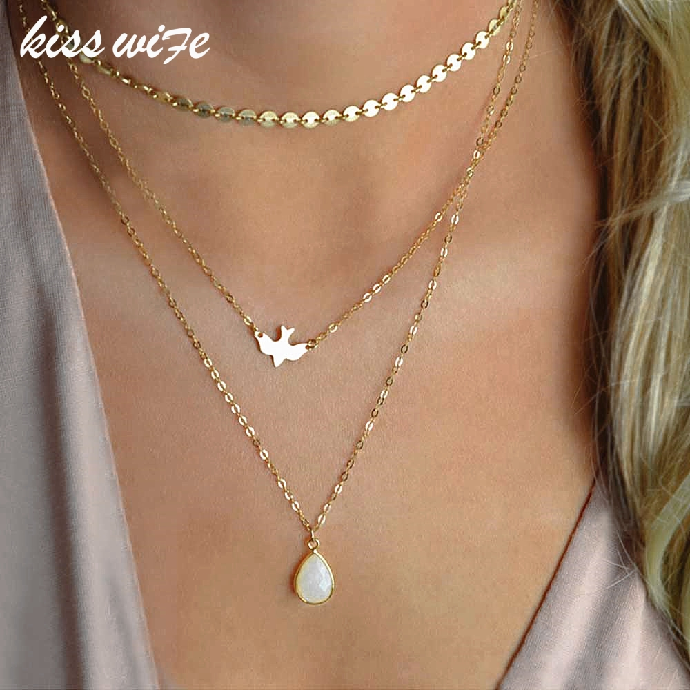 2018 New Peace Dove Soar Flying Layers Crystal Sequins Chain pigeon bird Water Drop Pendant Multilayer Necklace