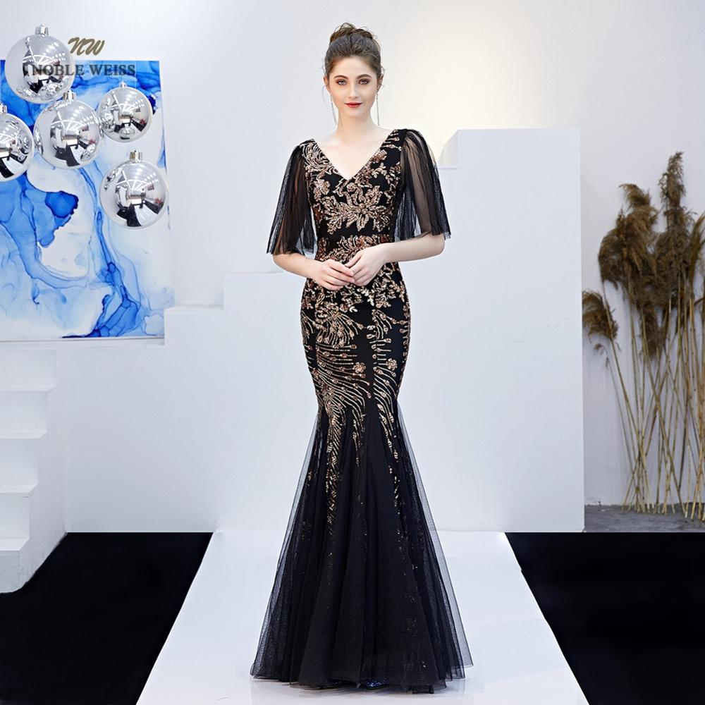 Mermaid Long Black   Evening     Dress   Sequin Zipper Back Sexy V-Neck Party   Dresses   Prom Gown With Sleeves
