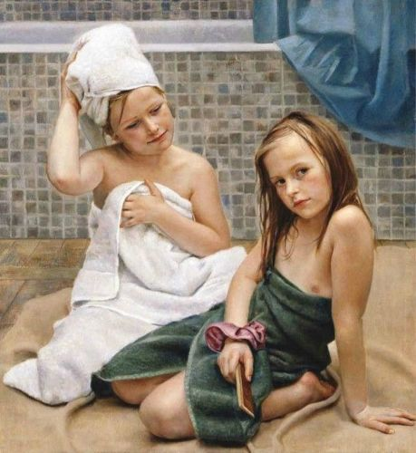 Hand Painted Oil Painting Just Take A Shower Little Girl Sat The Rug No Frame In Painting