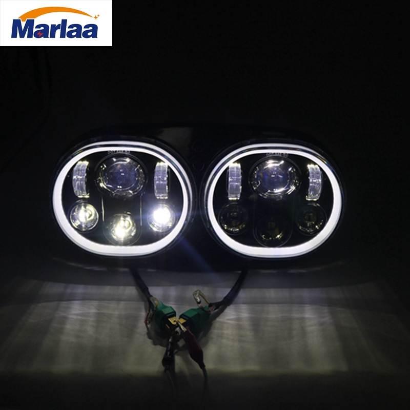 Marlaa Daymaker Dual LED Headlight for Harley Davidson Road Glide 2004 2005 2006 2007 2008 2009 2010 2011 2012 2013