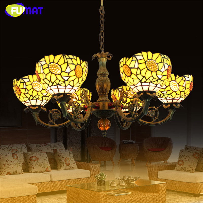 FUMAT American Sunflower Yellow Shade Chandeliers Art Stained Glass Lamp Dining Room Living Room Artistic Chandelier Lightings fumat stained glass table lamp high quality goddess lamp art collect creative home docor table lamp living room light fixtures
