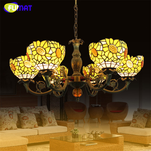 FUMAT American Sunflower Yellow Shade Chandeliers Art Stained Glass Lamp Dining Room Living Artistic Chandelier