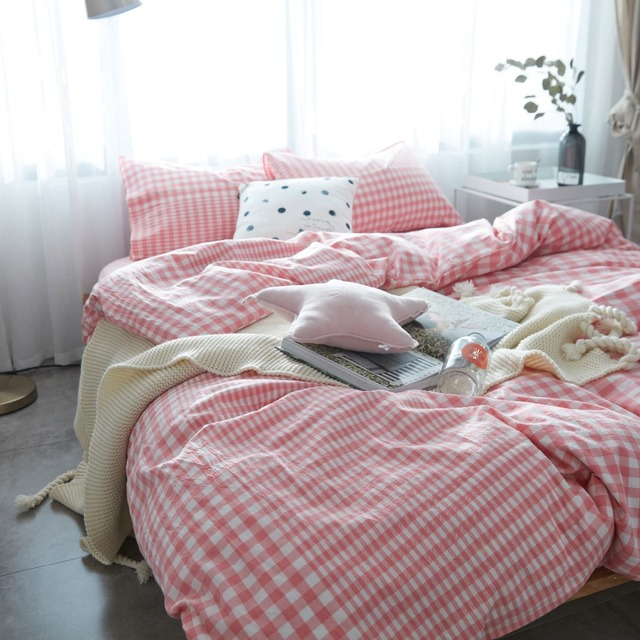 Pink Plaid Bedding Princess Bed Teen Bedding Sets Single Quilt Cover Set  Kids Bedding Set Washed Cotton Modern Bedding Sets