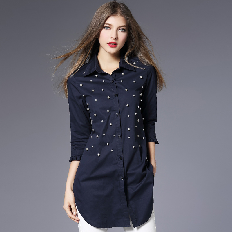 Navy blue shirt women 2019 Spring 100 cotton beading long shirt plus size three quarter three quarter sleeve womens tops in Blouses amp Shirts from Women 39 s Clothing