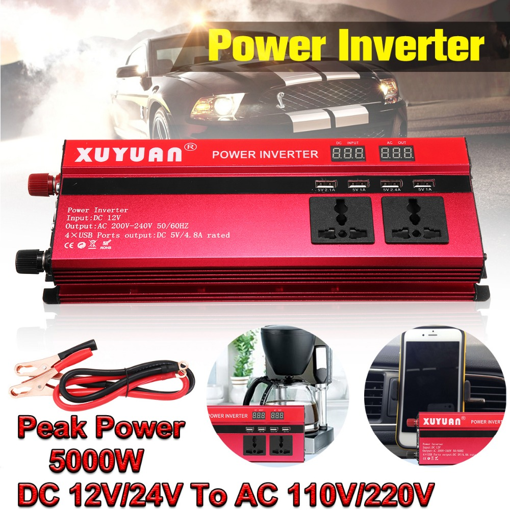 цена на Sine Wave 5000W Peak Car Inverter DC 12V/24V To AC 110/220V Power Inverter Volts Converter Charger Inversor 12V 220V Transformer