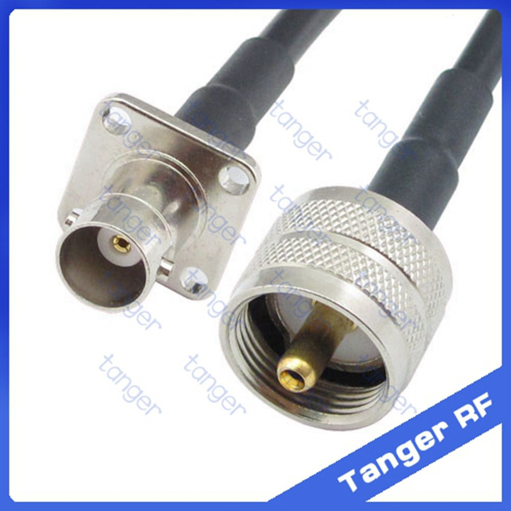Hot Selling Tanger BNC female jack 4four hole panel to UHF male plug PL259 RF RG58 Pigtail Jumper Coaxial Cable 20inch 50cm русский гамак rg 20 материал канвас полоска 4