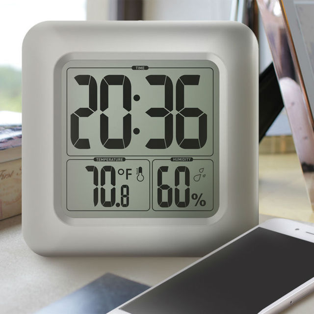 Baldr Waterproof Shower Clock Timer Watch Suction Cups Bathroom Kitchen Table Hygrometer Thermometer Large Digital Wall Clock