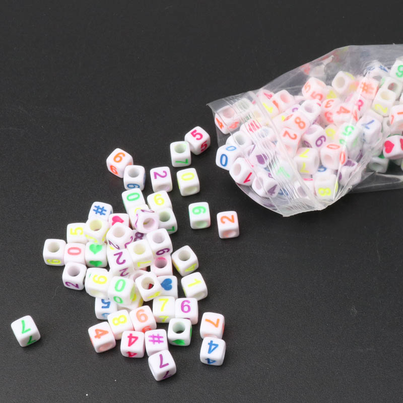 Wholesale 6mm 400pcs Mixed Color Number Cube Acrylic Neon Beads For Jewelry Making Accessory Decoration Diy Ykl0214-rh Making Things Convenient For Customers Beads