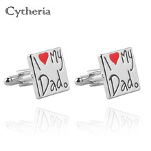 I Love My Dad cufflinks Statement Square Cufflink Men Fashion father birthday Jewelry Cufflink Christmas Gift Cuff Links daddy(China)