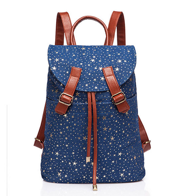 2017fashion Designer High Quality Women Star Printing Backpack Canvas Herschel Female Casual Travel Bag In Backpacks From Luggage