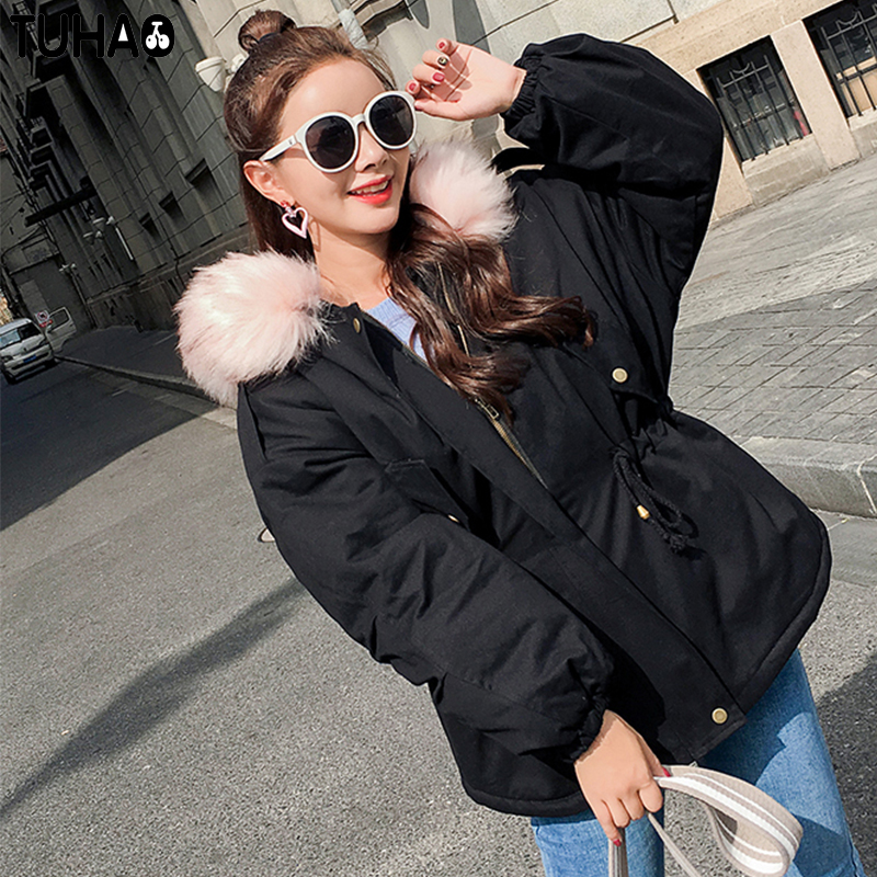 TUHAO 2017 New Slim Loose Short Women Winter Jackets Thick Warm Cotton Coat Pure Color Hooded Fashion Lady Parka LW11 tuhao lady down cotton pure color manteau femme hiver thick warm jackets 2017 new autumn winter women hooded long coats lw20