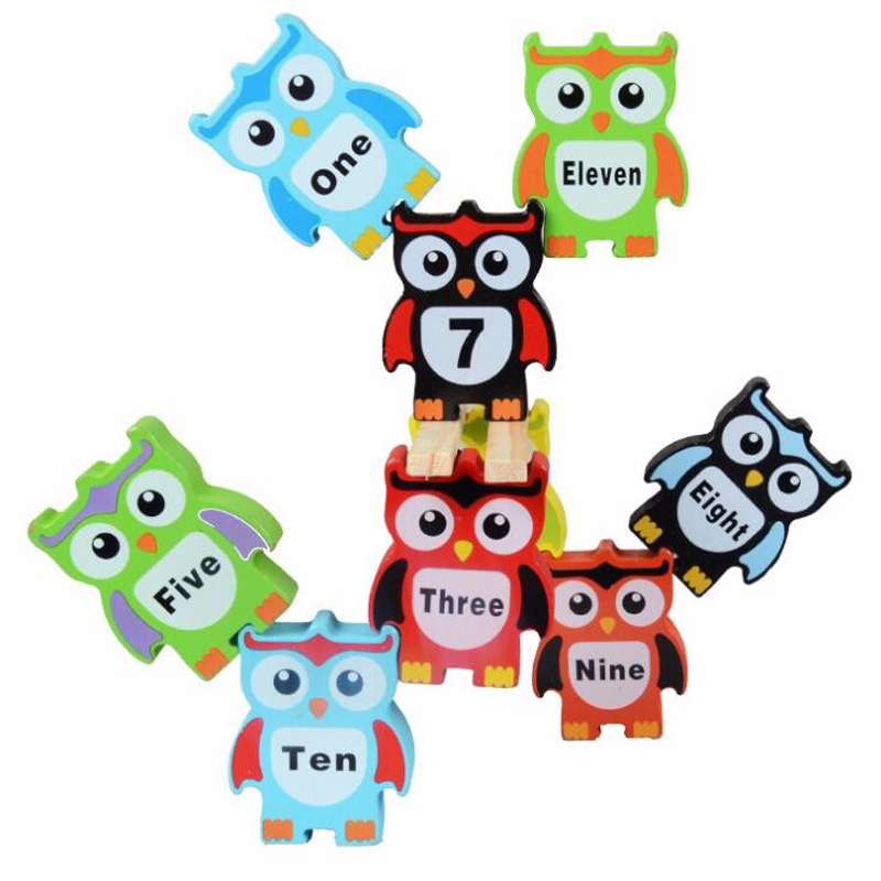 Fly AC 12 pcs Wooden Children Stacking Toy Owl Shapes color digital