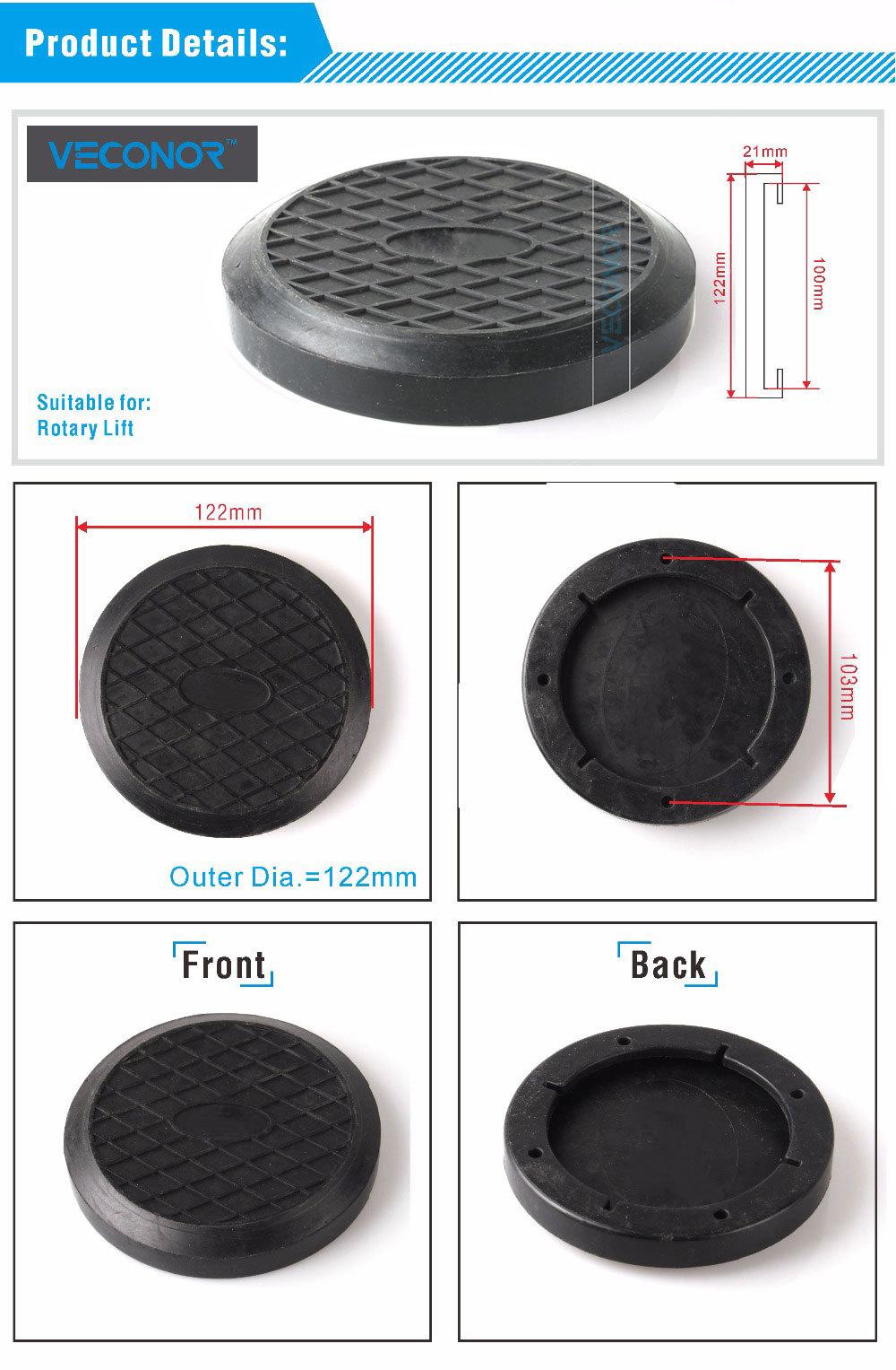 Power Tool Accessories Veconor Lifting Arm Rubber Pad For Rotary Car Lift Accessories Two Post Lift Spareparts Consumables