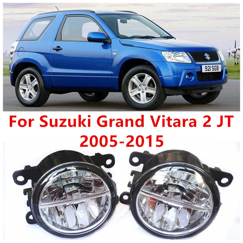 For Suzuki Grand Vitara 2 Closed Off-Road Vehicle JT  2005-2015 10W Fog Light LED DRL Daytime Running Lights Car Styling lamps  for suzuki jimny fj closed off road vehicle 1998 2013 10w high power high brightness led set lights lens fog lamps