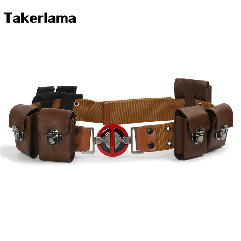 Takerlama Deadpool Belt Full Set Buckle Pouches Costume Ryan Reynolds Halloween Cospaly Props S M L XL