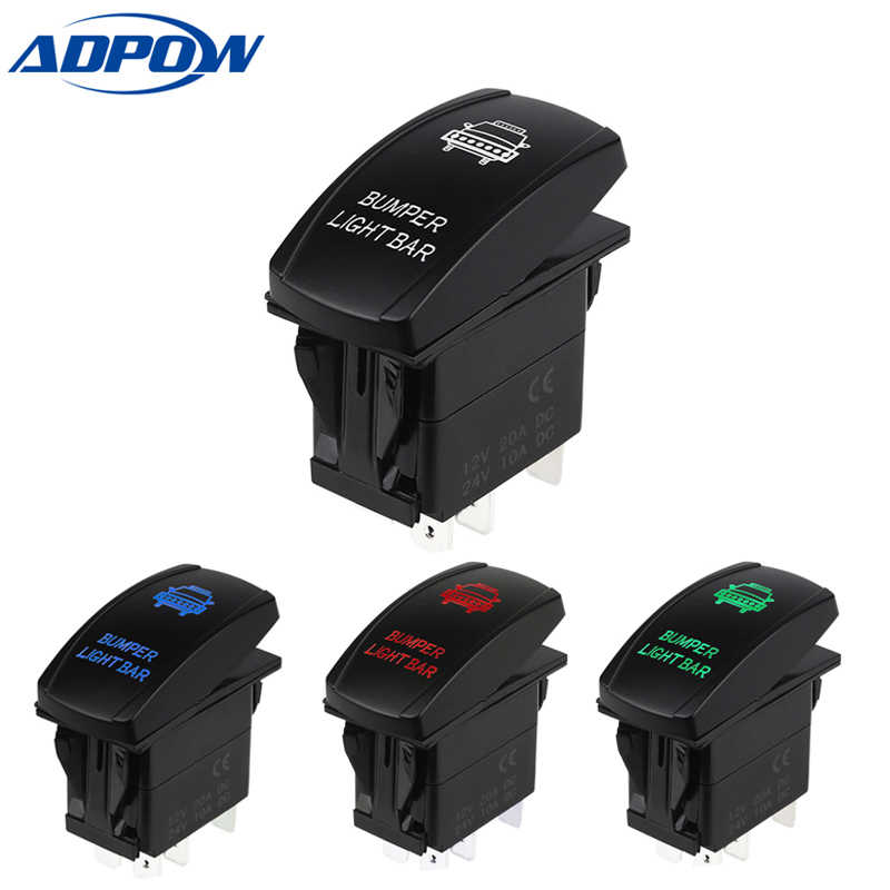 ADPOW 5 Pin 12V 24V Carling Style LED Light Bar Toggle Rocker Switch SPST ON-OFF Waterproof Rocker Switch for Car Boat Truck