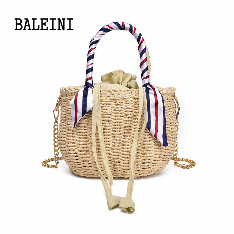 BALEINI 2018Women Fashion Designer Lace Handbags Tote Bags Handbag Wicker Rattan Bag Shoulder Bag Shopping Straw Bag in Shoulder Bags from Luggage Bags
