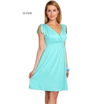 15b4e87c8 Slyxsh 2018 verano Maternidad Vestidos v-cuello lactancia Maternidad ropa  para embarazadas embarazo ropa vestidos