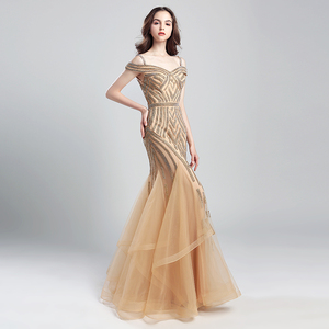 Image 3 - Romantic Beading Long Mermaid Evening Dresses 2019 New Arrival Tulle Ruched Off the Shoulder Formal Prom Party Real Gowns OL494
