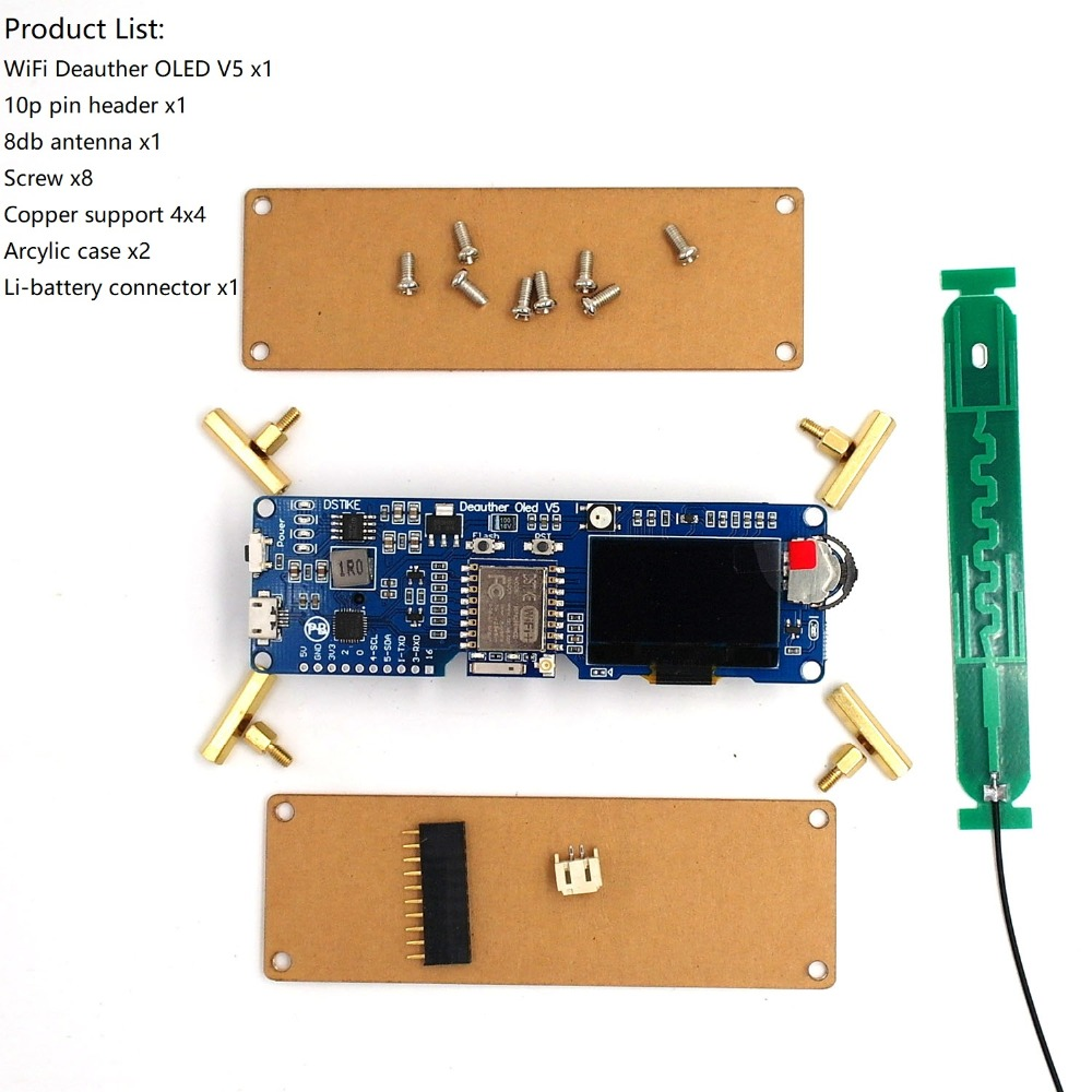 DSTIKE WiFi Deauther OLED V5 | The Best ESP8266 Development Board |18650  Reverse Polarity Protection | Arcylic Case 8db Antenna