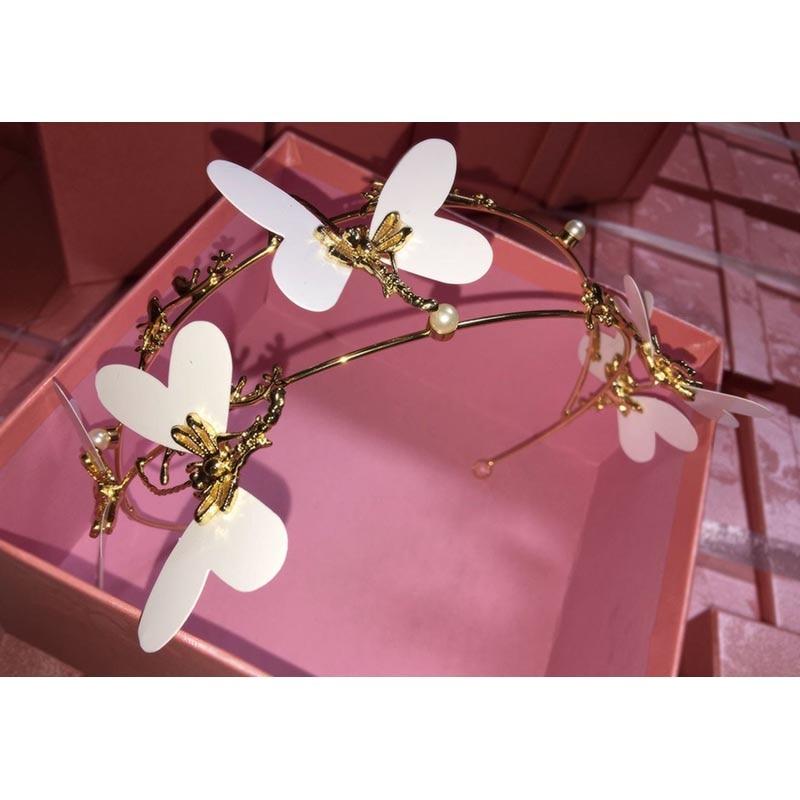 Novia oro tiara mariposa blanca boda joyería vestido de boda de la ...