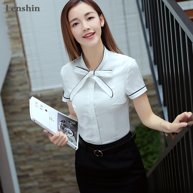 cc917057d7ae Lenshin Self Piping White blouse Autumn Work Wear Office Lady bow tie  shirts Female Ruffle Tops Chemise