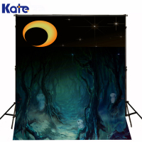 Photographic Background Halloween Forest Withered Skull Photo Backdrops Moon Stars Kate Background Backdrop