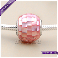 NEW 925 Sterling Silver E-Collection COMPASSION, Pink Mother-of-Pearl Charm Bead Fit European woman Jewelry Unique DIY Bracelet