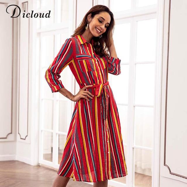 Dicloud Striped Maxi Women Dress Knee Length Sash Casual Elegant Office  Lady Streetwear 2018 Summer Autumn Vestido For Female 17720fcb3