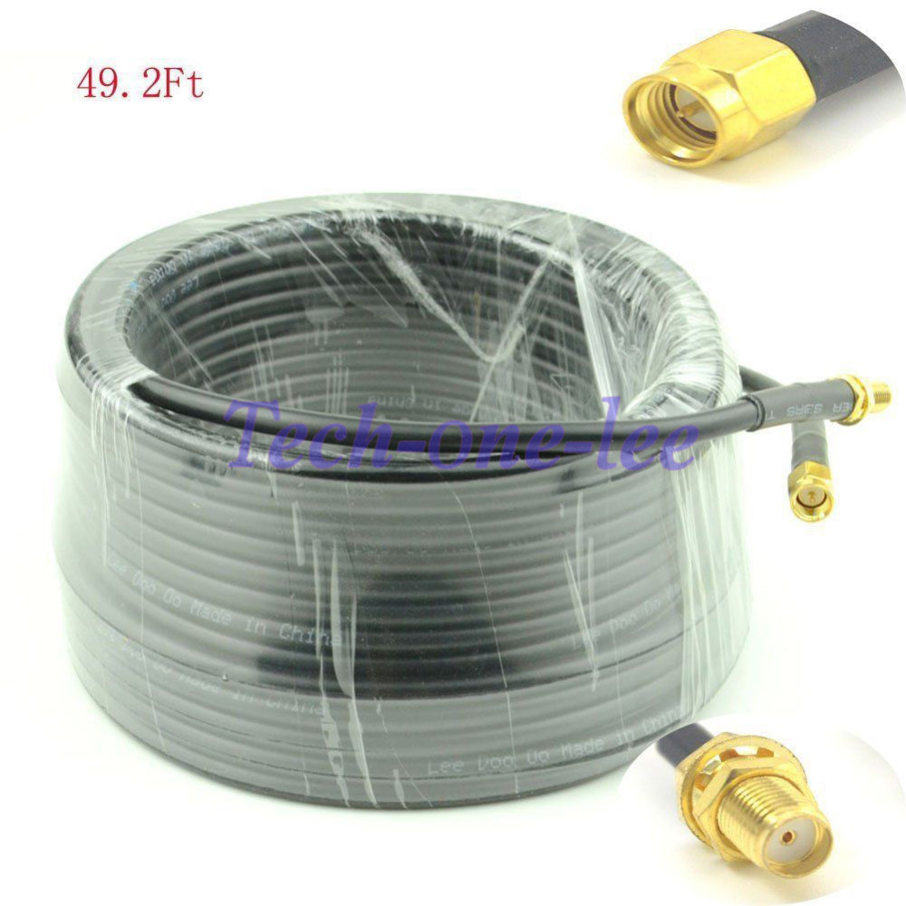 49ft Antenna Extension SMA Male Plug to SMA Female Jack Cable crimp Jumper RG58 15M