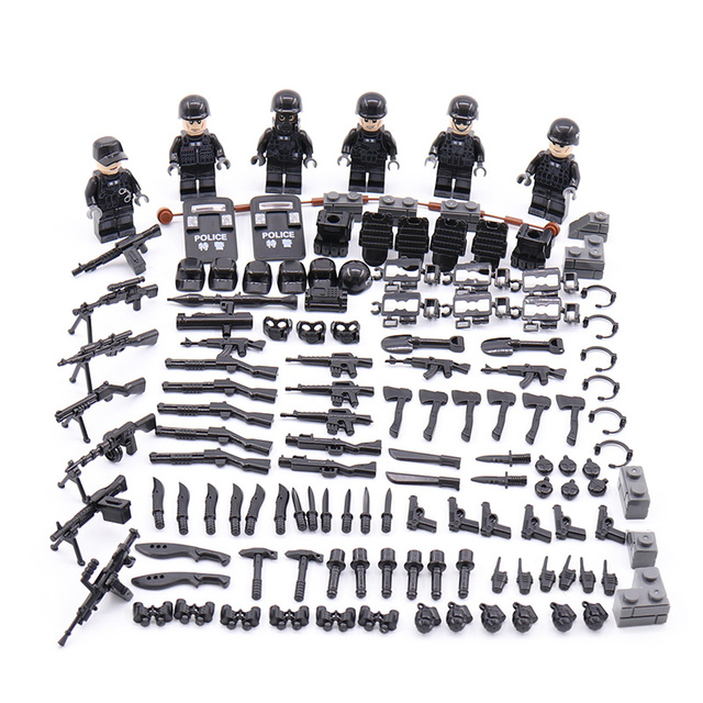 Nova LegoINGlys Minifigure Militar SWAT Da Polícia Da Cidade Moderna de Comando Das Forças Especiais Armas Blocos de Construção de Mini Figuras Brinquedos