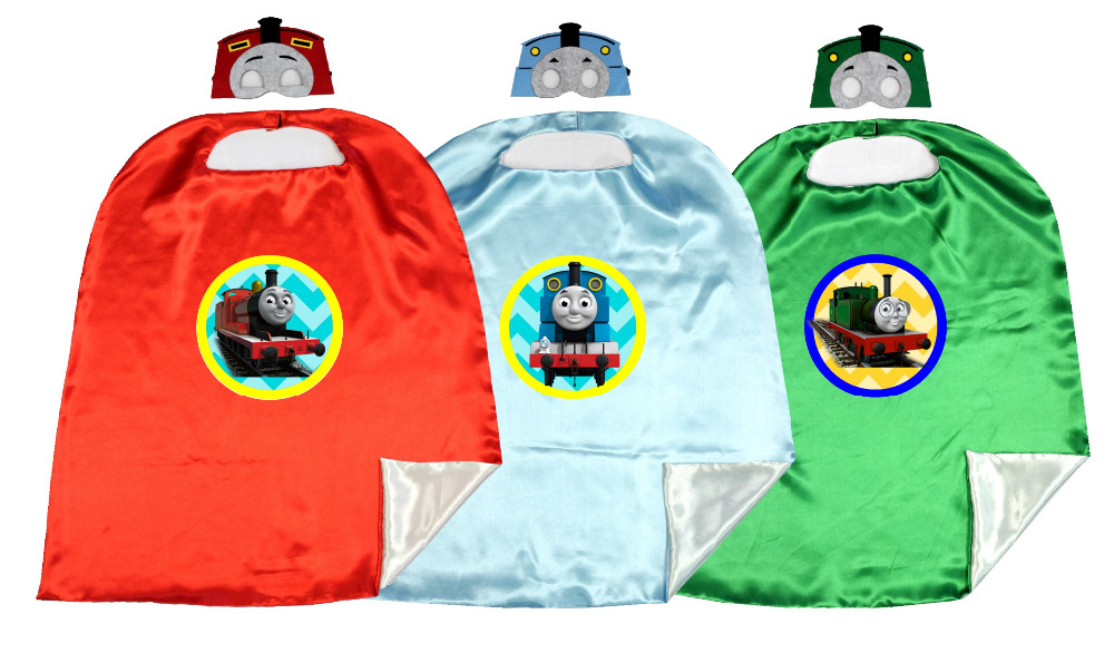 70*80cm 2layer Unique  Capes matching masks  Thmoas the Train costume BirthdayParty Favor  Capes + Masks