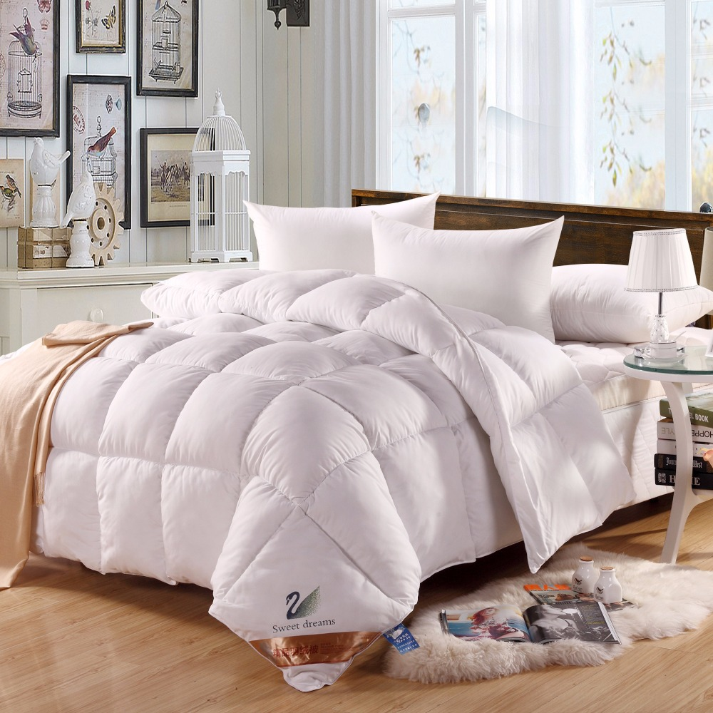 goose thread oversized luxury down count by weight oversize white closeup comforter abripedic winter feather