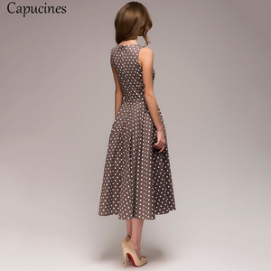 Image 3 - Capucines zarif Vintage nokta baskı evaze elbise kadın yaz kolsuz o boyun orta buzağı rahat elbise kadın Vestidos