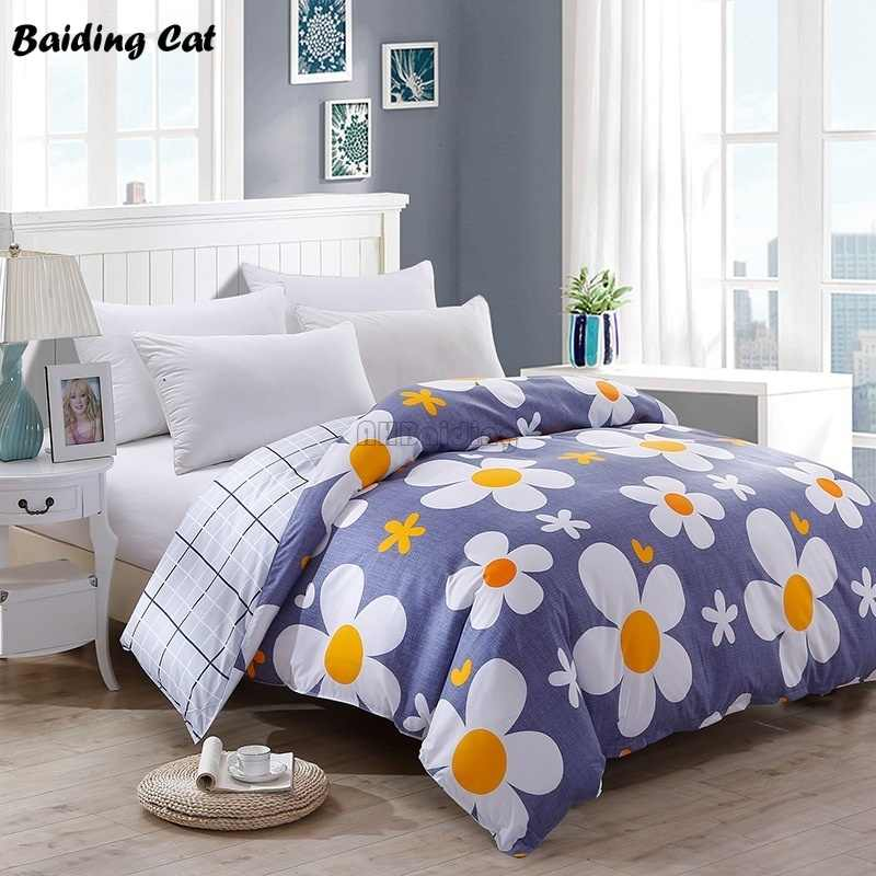 2019 New Pastoral Flower Print Bedding Set 1pc Close Skin Cotton Duvet Cover 150*200cm/180*220cm/200*230cm/220*240cm Quilt Cover