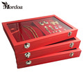 2016 Fashion Accessories Box Wedding Birthday Gifts Ring Pendant Necklace Storage Red Velvet Jewelry Display Boxes Free Shipping