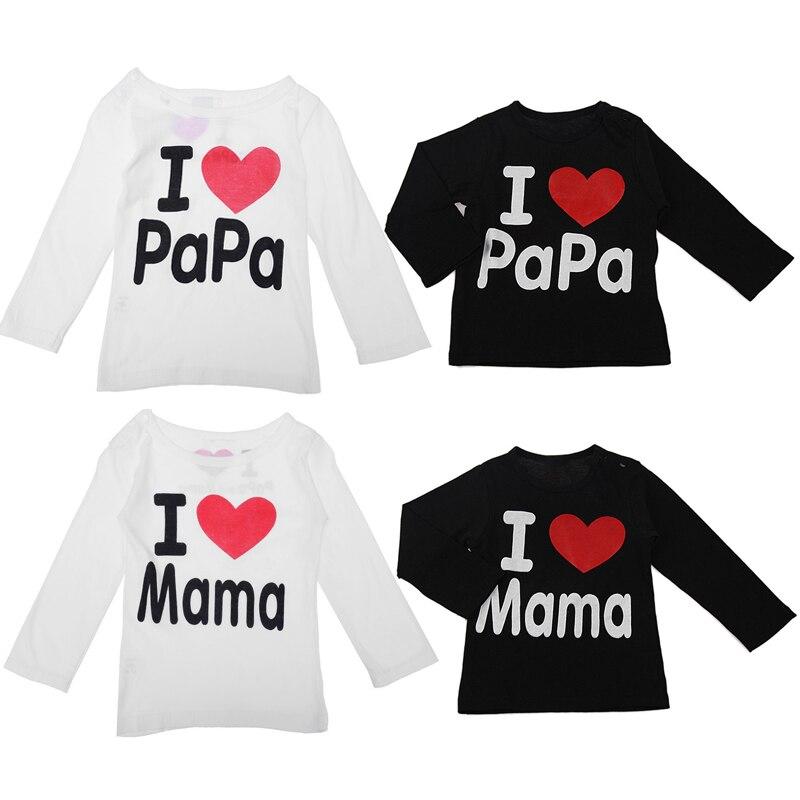 1 Stück Baby Kinder Kleidung Ich Liebe Mama T-shirt Tops Langen Ärmeln Baumwolle Tops Für Kinder Baby Jungen Mädchen Kleidung Kinder Roupa De Bebe SchöNe Lustre