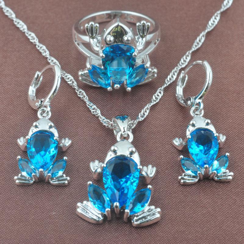 Forg Form Sky Blue Zirkonia Frauen 925 Sterling Silber Schmuck Sets Halskette Anhänger Ohrringe Ring Freies Verschiffen Tz0316 Brautschmuck Sets