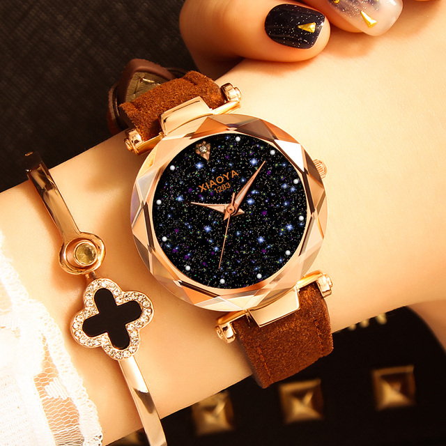 Ladies Watch 2018 New Casual Fashion Quartz Watch Starry Sky Multicolor Leather