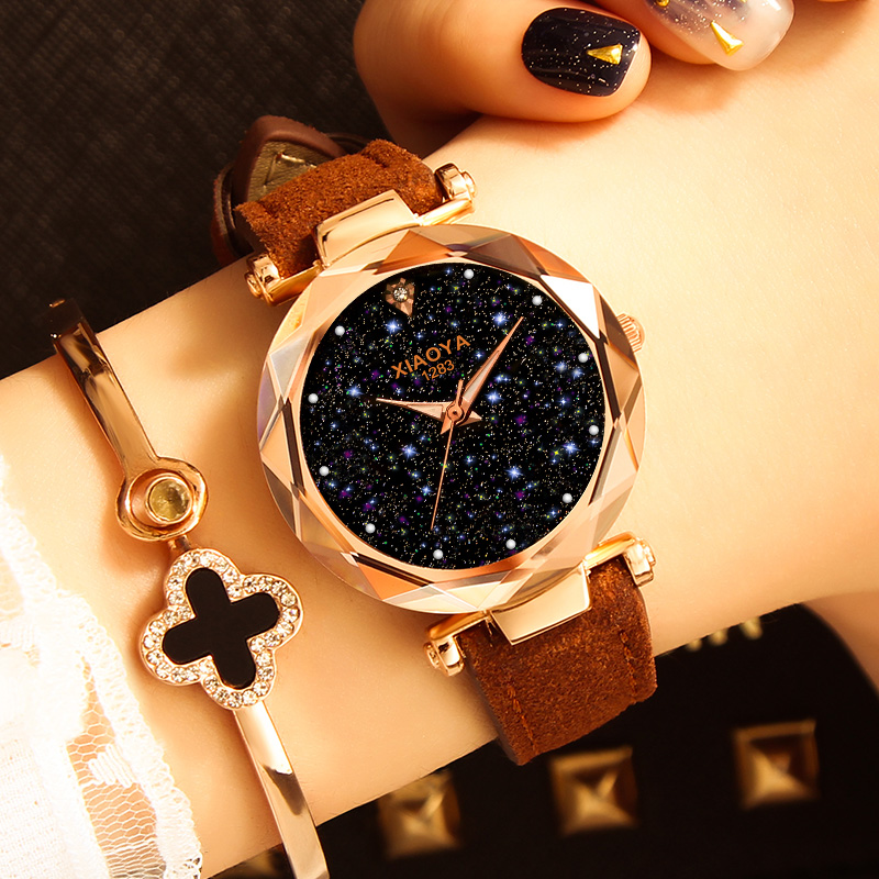 Ladies Watch 2019New Casual Fashion Quartz Watch Starry Sky Multicolor Leather Wristwatch Simple Designer Women Clock Orologio