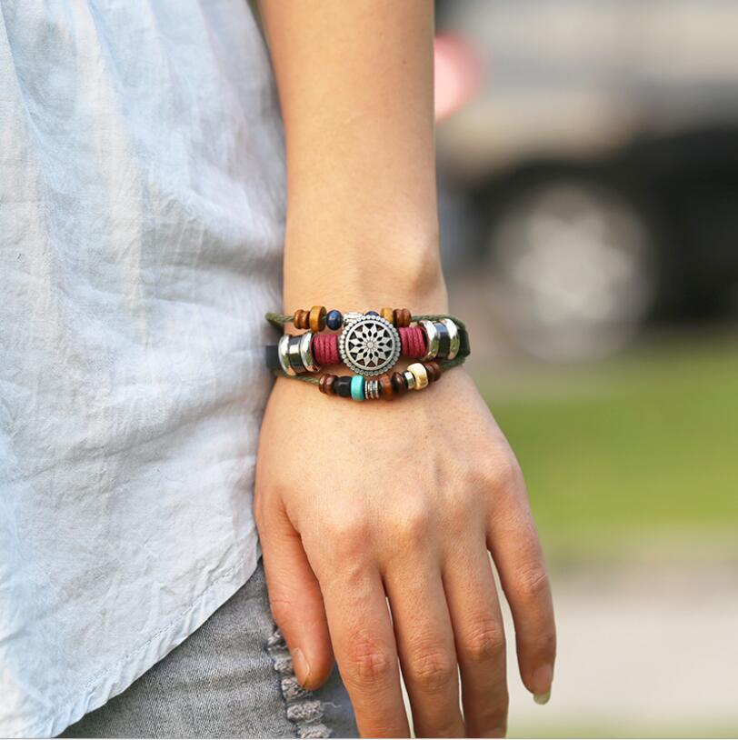leather bracelet for women adjustable braided men Retractable Beaded Bracelet fashion Student
