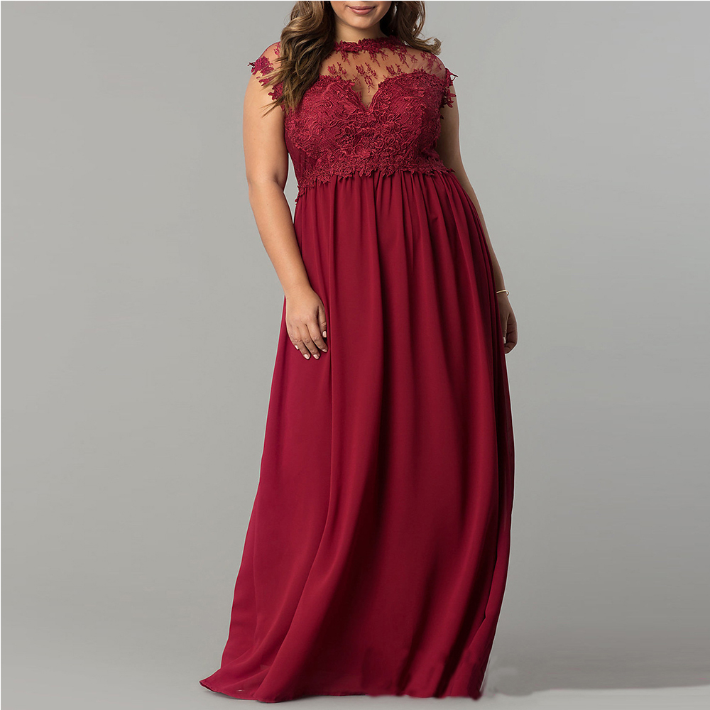 Big Size Woman Retro Party Dress Red Sleeveless Long Evening Lace Gown Large Size Wedding Maxi Fashion Mesh Prom Vestido 2017
