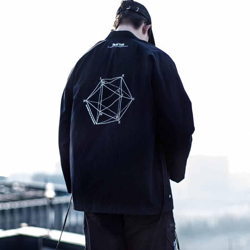 2018 Neue China Stil Herren Kimono Männlichen Strickjacke Mantel Hip Hop Punk Streetwear Swag Skateboard Twill Baumwolle Kimono Ausgezeichnete (In) QualitäT