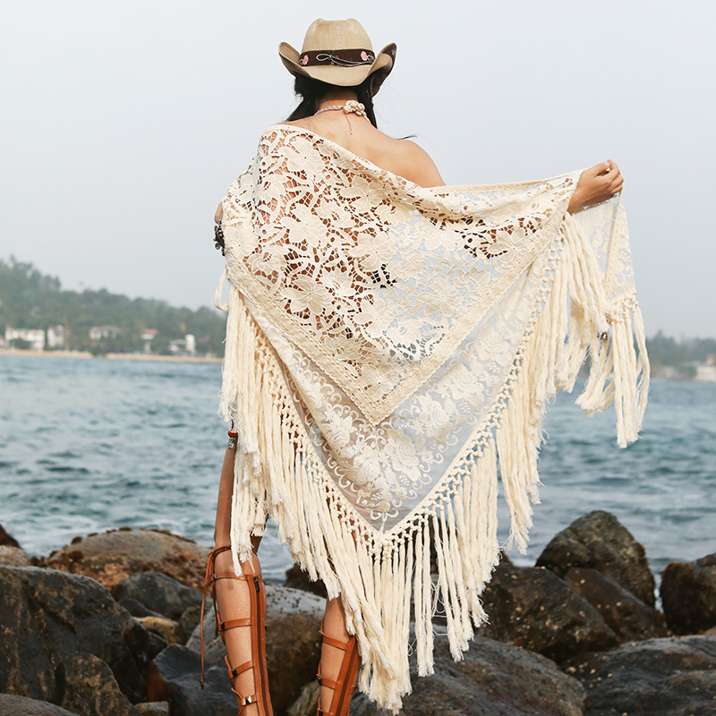 New Women Fashion Sexy Summer All-Match Seaside Beach Vacation Hollow Out Tassel Cotton Lace Big Shawl Scarf